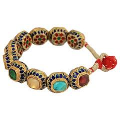 Manjrie Ruby Pearl Coral Sapphire Diamond Turquoise Gold Artisan Enamel Bracelet