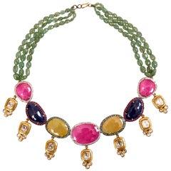 Manjrie Ruby Sapphire Emerald Diamond Aventurine 18k Gold Contemporary Necklace