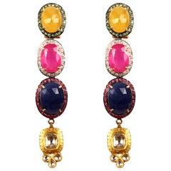 Manjrie Ruby Sapphire Emerald Diamond 18k Gold Contemporary Dangle Earrings