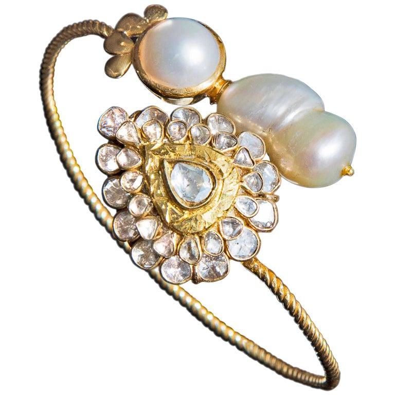 Manjrie Baroque Pearl Uncut Diamond 18 Karat Gold Artisan Bracelet For Sale