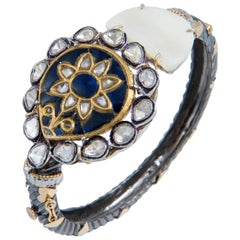 Manjrie Iolite Uncut Diamond Mother of Pearl 18k Gold Silver Victorian Bracelet