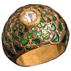 Manjrie Green Aquamarine Rose-Cut Diamond 22k Gold Artisan Dome Ring