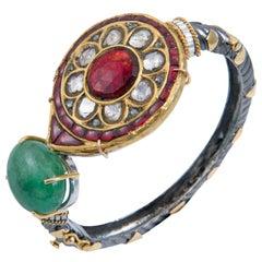 Manjrie Ruby Uncut Diamond Emerald 18k Gold Silver Artisan Bracelet