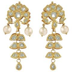 Manjrie Pearl Uncut Diamond 18K Gold Artisan Dangle Earrings