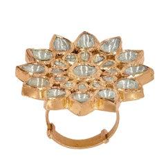 Manjrie Uncut Diamond 18K Gold Artisan Adjustable Ring