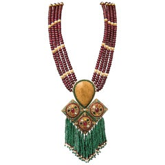Manjrie Ruby Emerald Pearl Coral Diamond Turquoise 18K Gold Artisan Necklace