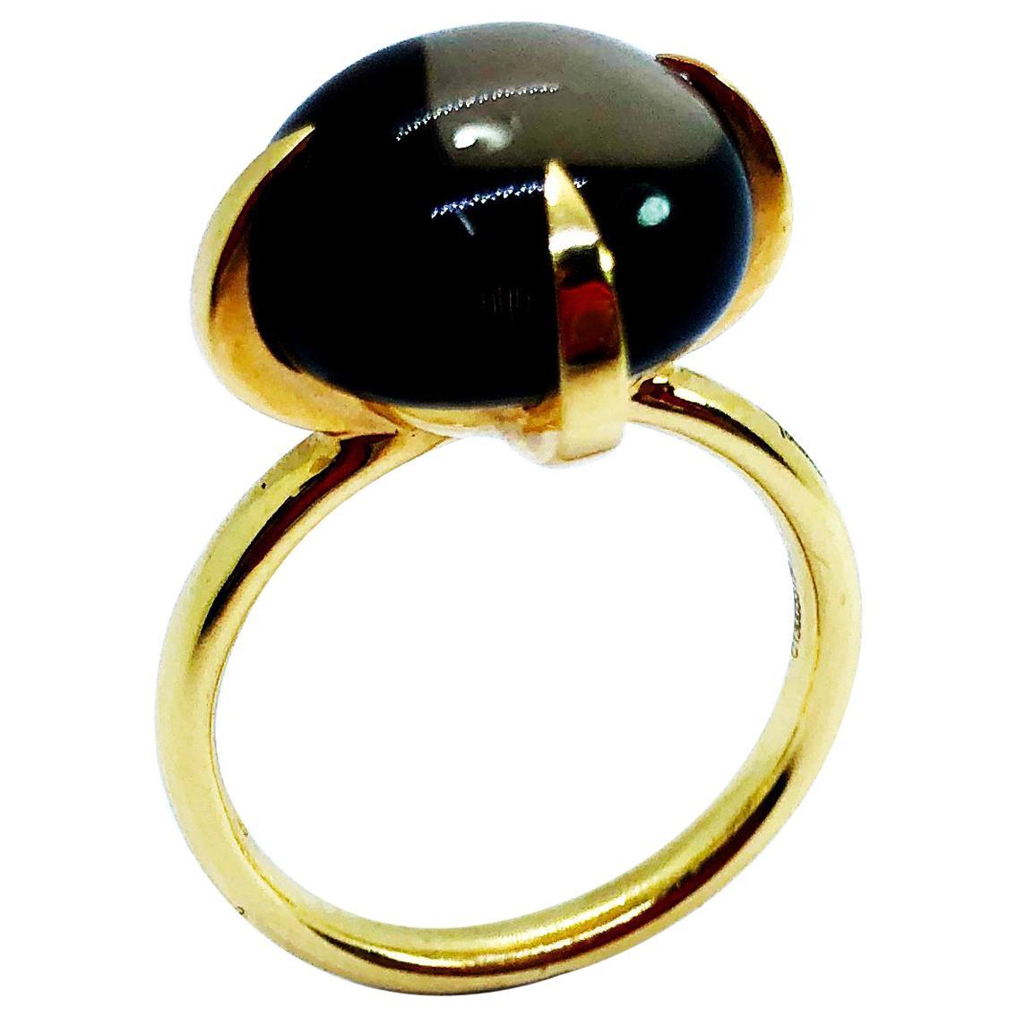 Pomellato Veleno Wood Quartz 18 Karat Gold Ring