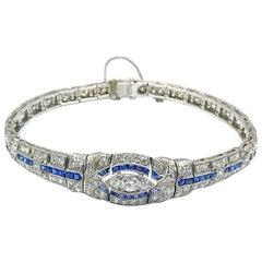 3.00 Carat Art Deco Diamond and Sapphire Platinum Bracelet