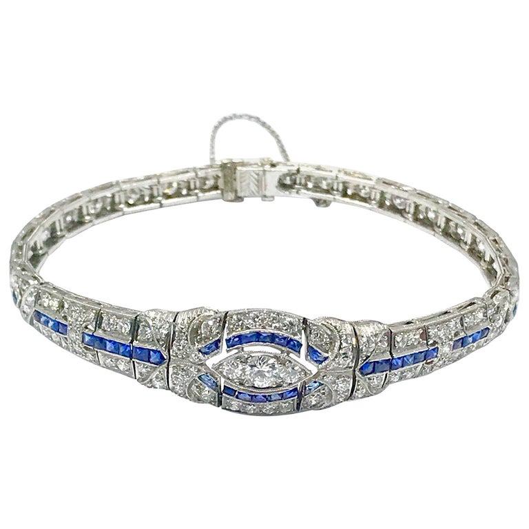3.00 Carat Art Deco Diamond and Sapphire Platinum Bracelet