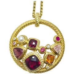 David Yurman Mosaic Diamond and Multi Gemstone Yellow Gold Pendant and Chain