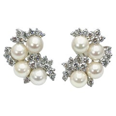 5.00 Carat Diamond and Cultured Pearl Platinum Clip Earrings