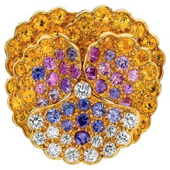 Jean Vitau 18 Karat Yellow Gold, Diamond and Colored Sapphires Pansy Brooch