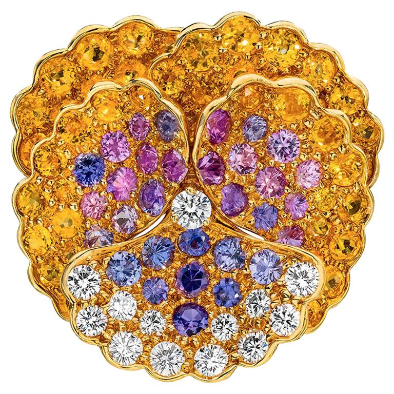 Jean Vitau 18 Karat Yellow Gold, Diamond and Colored Sapphires Pansy Brooch For Sale
