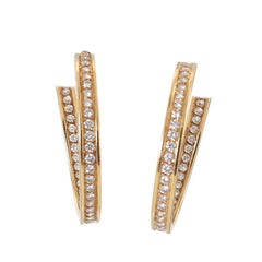 Cartier Diamond Gold Inside Out Hoop Earrings