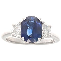 Modern GIA Sapphire Diamond Platinum Engagement Ring