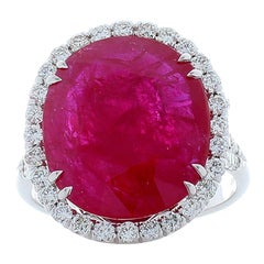 GIA Certified 9.82 Carat Cushion Ruby and Diamond Cocktail Ring in White Gold