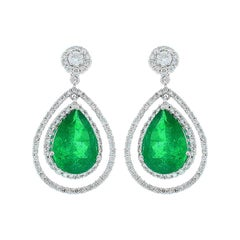 4.45 Carat Total Pear Shape Emerald and Diamond Earrings in 18 Karat White Gold