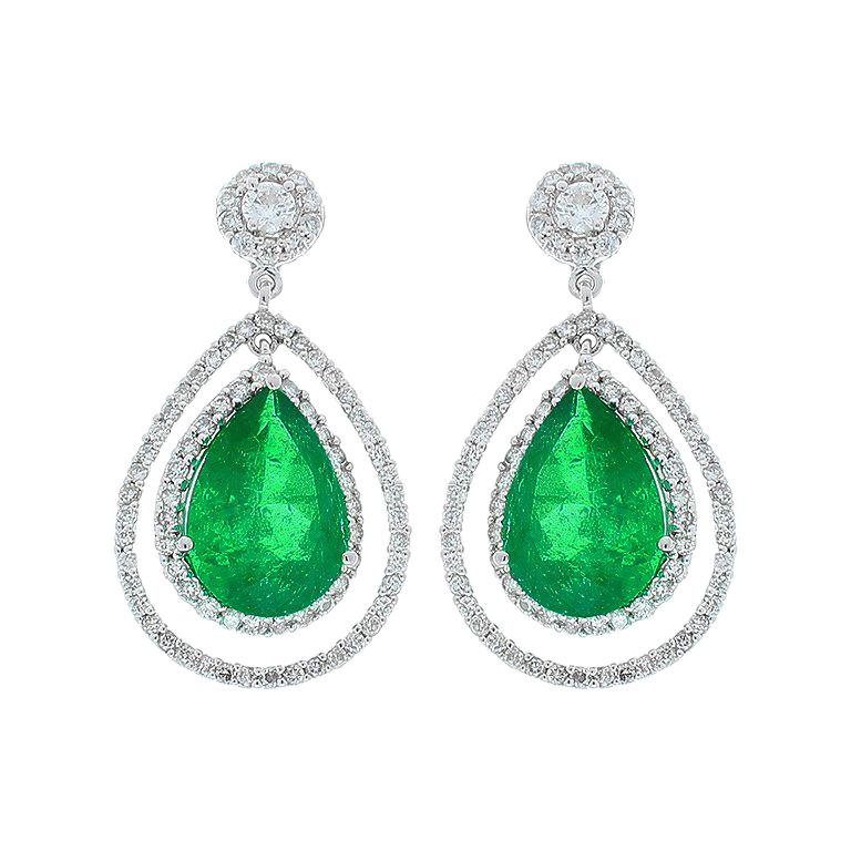 4.45 Carat Total Pear Shape Emerald and Diamond Earrings in 18 Karat White Gold For Sale