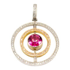 0.59 Carat Total Tourmaline and Diamond Two-Tone Pendant in 18 Karat Gold