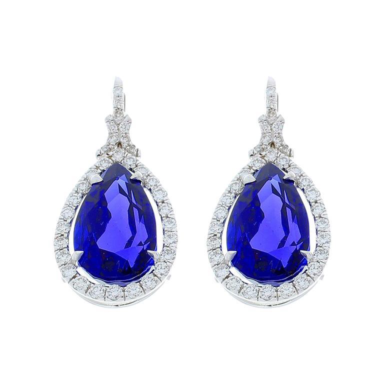 17.83 Carat Total Pear Shape Tanzanite and Diamond Earrings in 18 Karat Gold