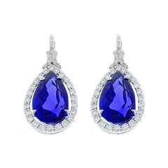 17.83 Carat Total Pear Shape Tanzanite and Diamond Earrings in 18 Karat Gold