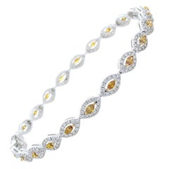 3.50 Carat Total Fancy Yellowish Brown Marquise Diamond Bracelet in White Gold