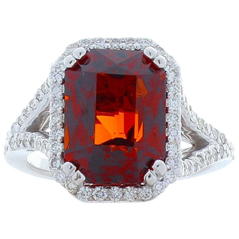 8.05 Carat Emerald Cut Spessartite Garnet and Diamond White Gold Cocktail Ring For Sale