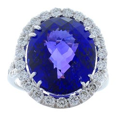 14.34 Carat Oval Checkerboard Tanzanite and Diamond Cocktail Ring in White Gold