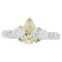 0.81 Carat Pear Shape Fancy Light Yellow Diamond Cocktail Ring in 18 Karat Gold