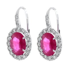 2.75 Carat Total Oval Ruby and White Diamond Earrings in 18 Karat White Gold