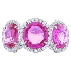 10.10 Carat Total Pink Sapphire and Diamond Cocktail Ring in 18 Karat White Gold
