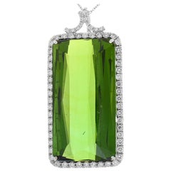 81.00 Carat Emerald Cut Green Tourmaline and Diamond Pendant In 18K White Gold