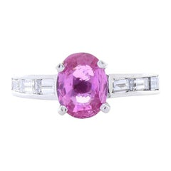 2.00 Carat Oval Pink Sapphire and Baguette Diamond Cocktail Ring in White Gold