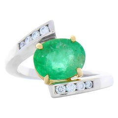 2.28 Carat Oval Emerald and Diamond Two-Tone Cocktail Ring in 14 Karat Gold