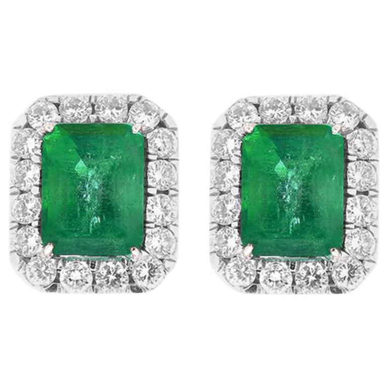 11 36 Carat Emerald Cut And Diamond Earrings In 18 Karat White Gold