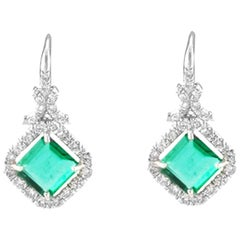 2.72 Carat Total Square Emerald Emeralds and Diamond Earrings in 14 Karat Gold