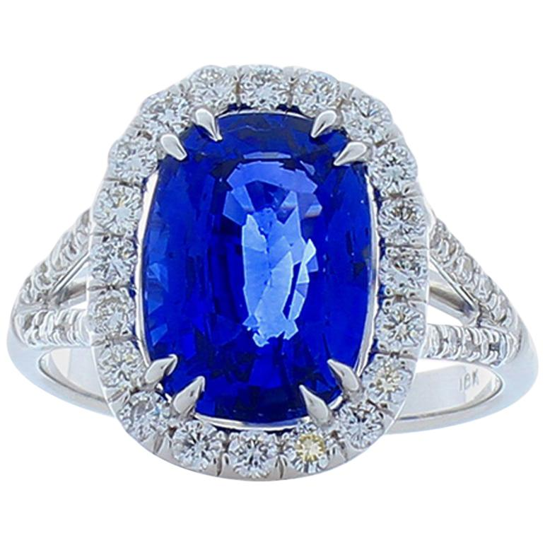 AGL Certified 5.17 Carat Cushion Sapphire & Diamond Cocktail Ring in 18K Gold