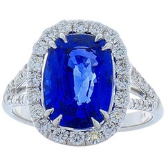 5.17 Carat Cushion Sapphire and Diamond Cocktail Ring in 18 Karat White Gold