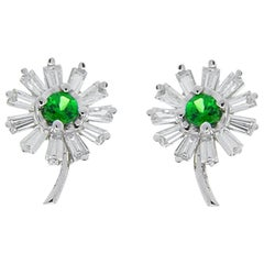 1.20 Carat Total Emerald and Baguette Diamond Earrings in 14 Karat White Gold