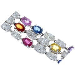33.70 Carat Total Multi-Color Oval Sapphire and Marquise Diamond Gold Bracelet