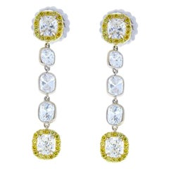 3.56 Carat Total Cushion Diamonds and Fancy Yellow Diamond Two-Tone Earrings