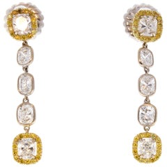 3.71 Carat Total Cushion Diamond and Fancy Yellow Diamond Two-Tone Earrings