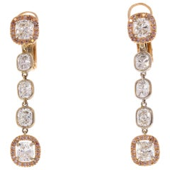 3.96 Carat Total Cushion Diamond And Pink Diamond Two Tone 18 K Gold Earrings