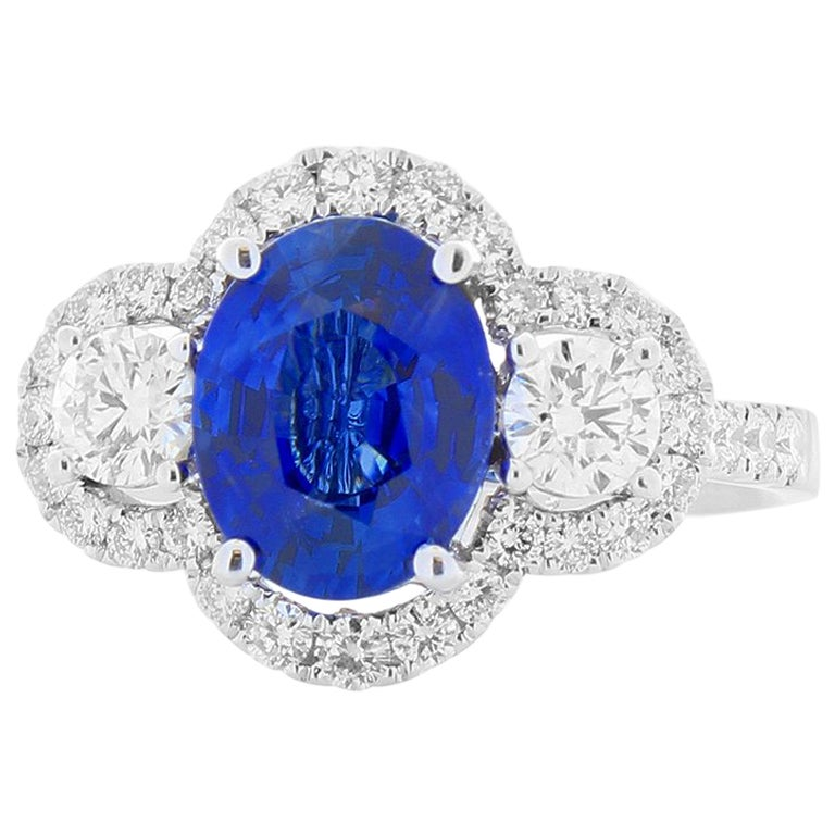 2.03 Carat Oval Sapphire and Diamond Cocktail Ring in 18 Karat White Gold