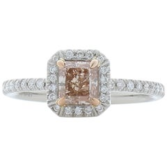 GIA Certified 0.74 Carat Fancy Pinkish Brown Radiant Cut Diamond Cocktail Ring