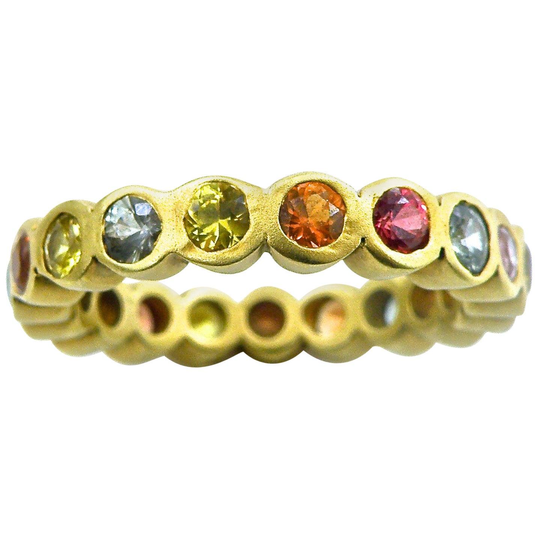 18 Karat Multi-Color Sapphire Eternity Ring