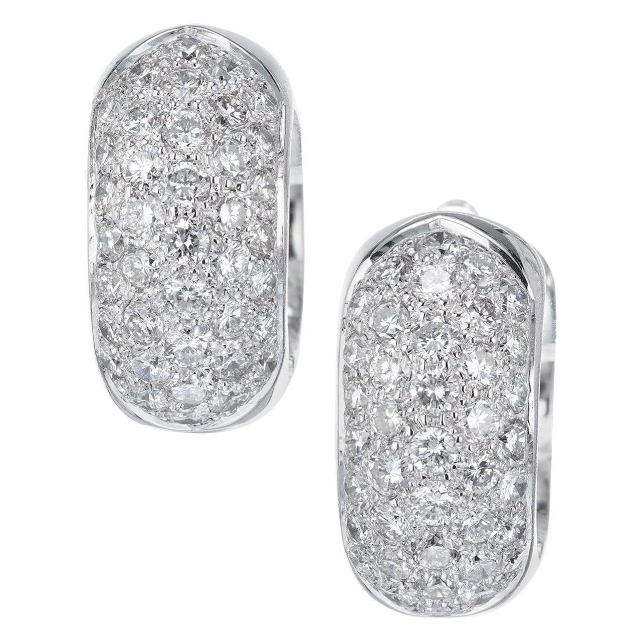 1.50 Carat Diamond Pave White Gold Huggie Hoop Earrings
