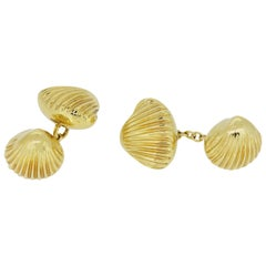 Shell Cufflinks in 18 Karat Yellow Gold