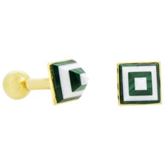 Marble Cufflinks White and Green in 18 Karat Yellow Gold