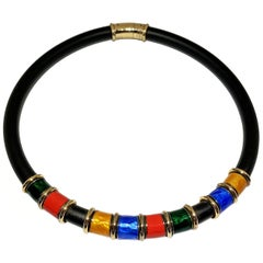 Caucciù Necklace 18 Karat Yellow Gold Enameled